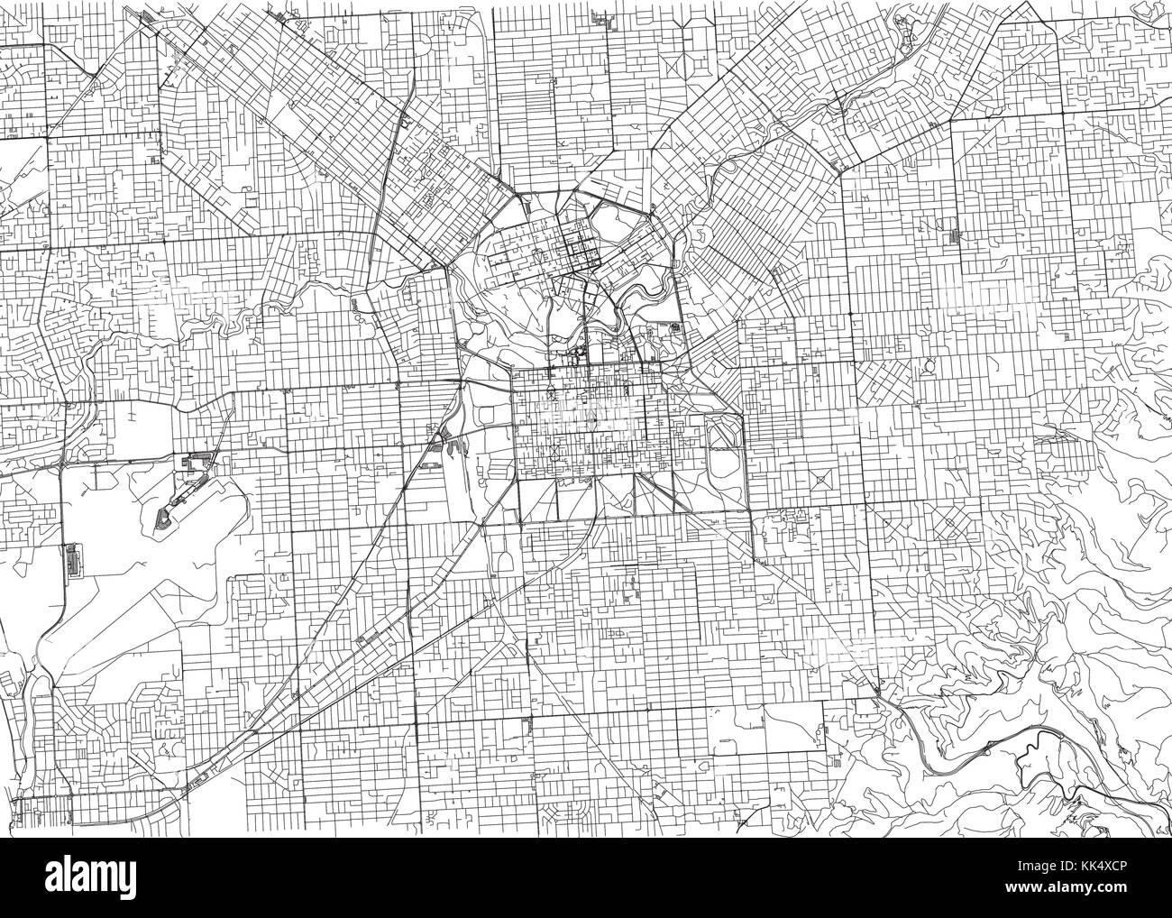 Streets of adelaide city map australia street map stock image