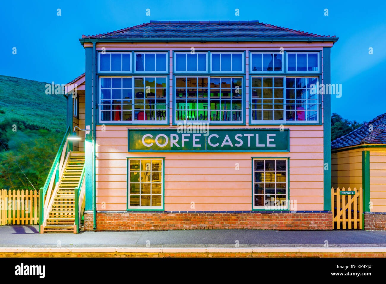 CORFE, UNITED KINGDOM - SEPTEMBER 08: Evening view of traditional architecture of Corfe castle railway station on - Stock Image