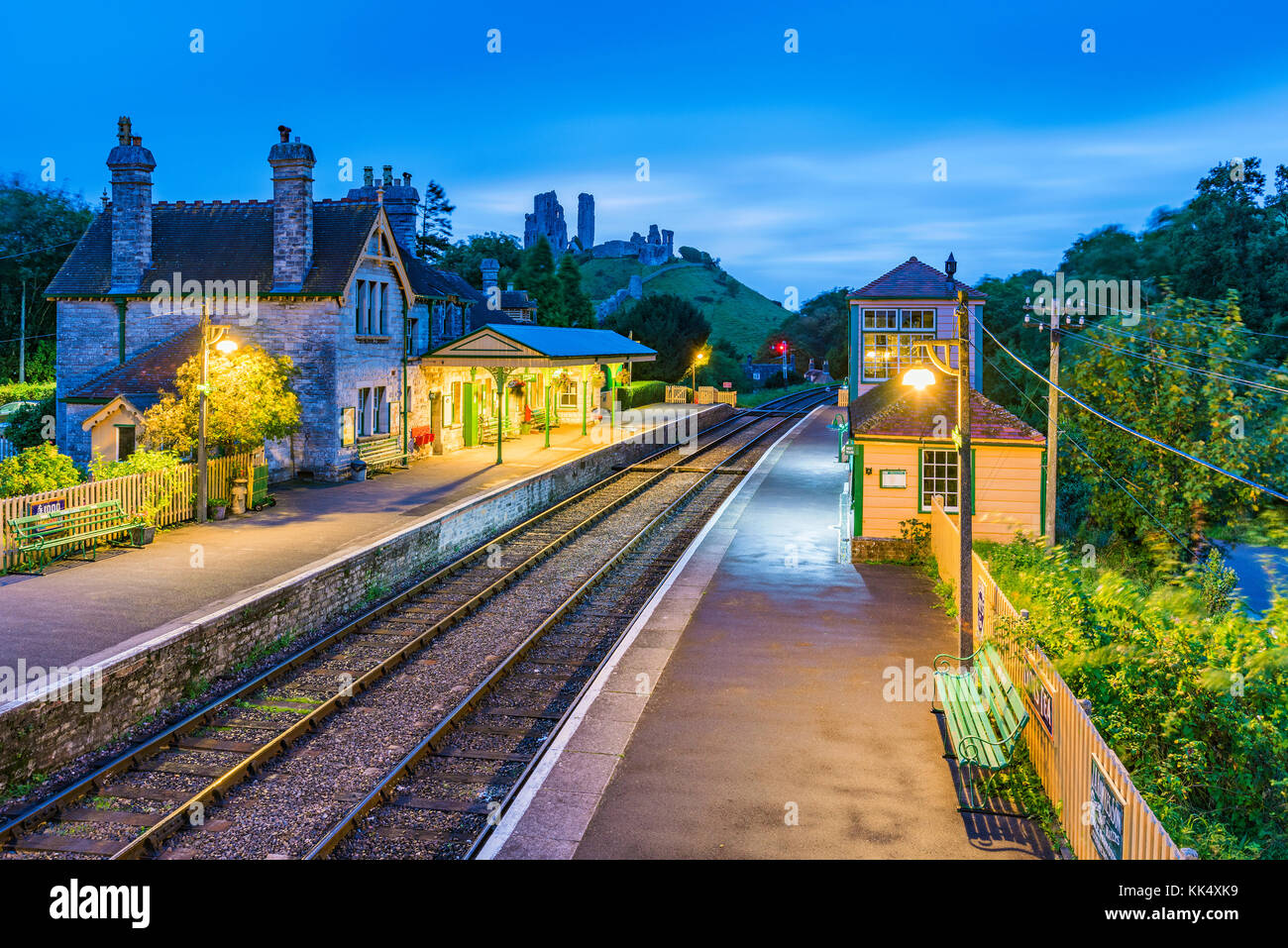 CORFE, UNITED KINGDOM - SEPTEMBER 08: This is an evening view of the Corfe Castle railway station traditional medieval - Stock Image