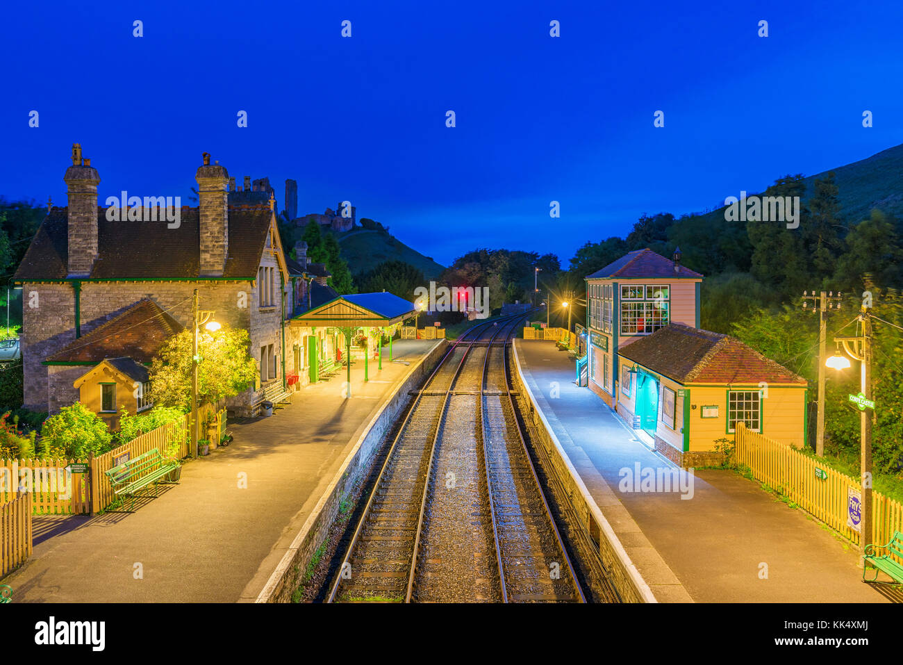 CORFE, UNITED KINGDOM - SEPTEMBER 08: This is a night view of the Corfe Castle railway station traditional medieval - Stock Image