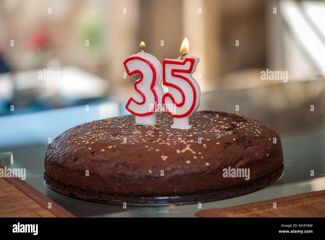 Pleasant Birthday Cake For The 35Th Birthday Stock Photos Birthday Cake Funny Birthday Cards Online Hetedamsfinfo