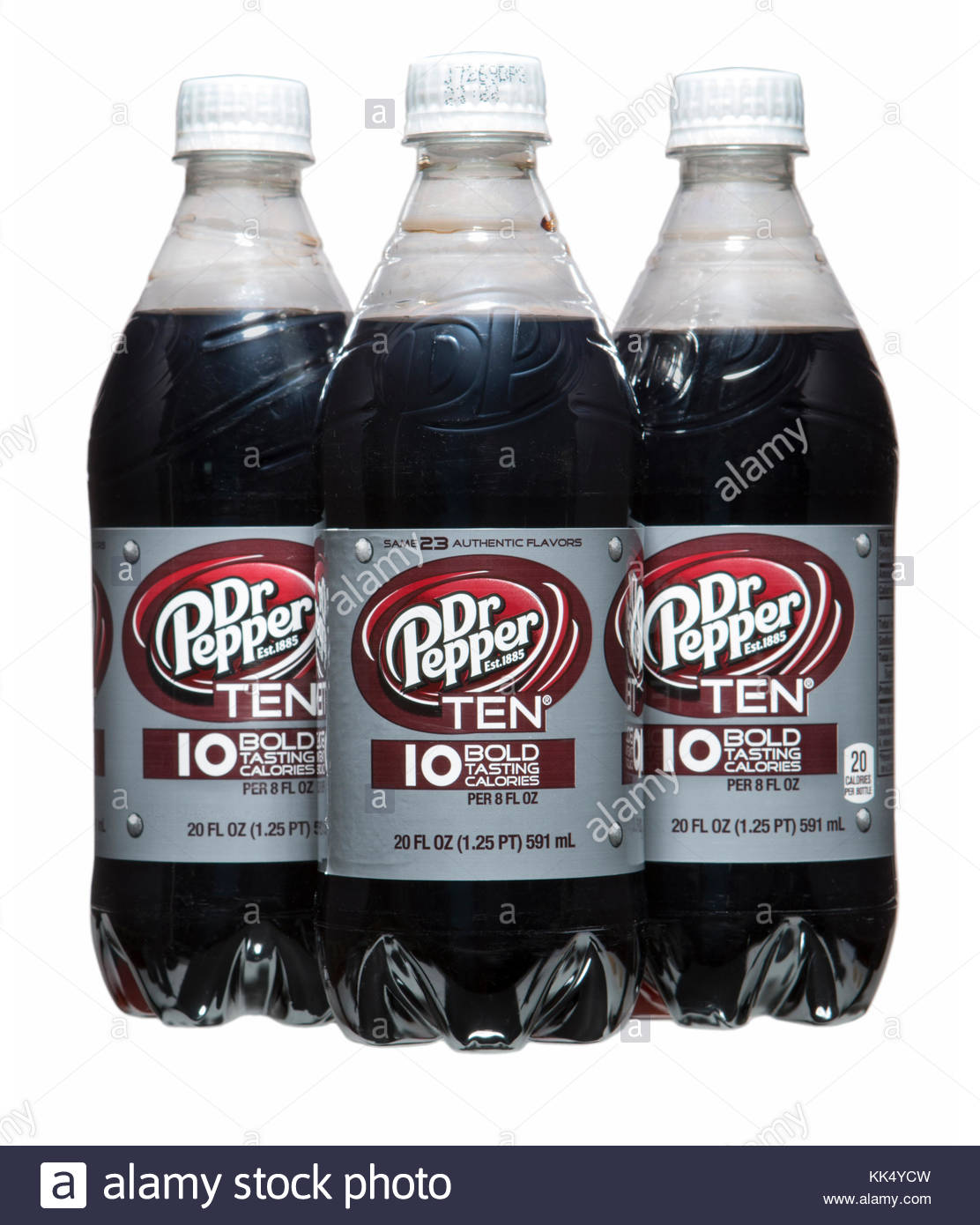 Dr. Pepper 10 is a Dr. Pepper product that is marketed toward soda drinkers who may be interested in fewer calories - Stock Image
