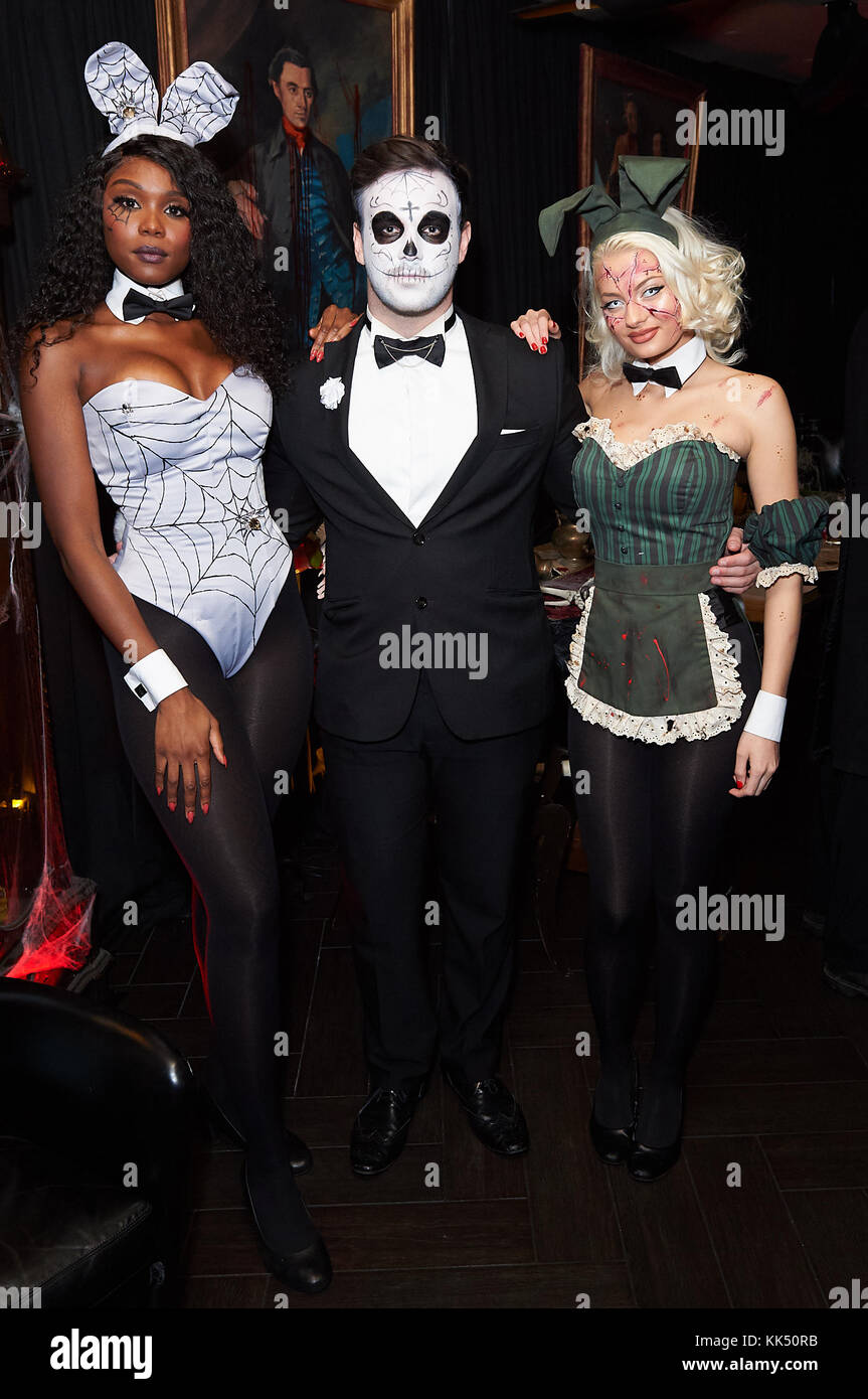 the playboy club of london holds its haunted mansion halloween party 2017 featuring playboy