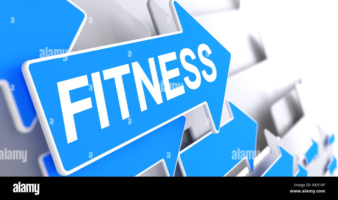 Fitness - Inscription on Blue Pointer. 3D. Stock Photo