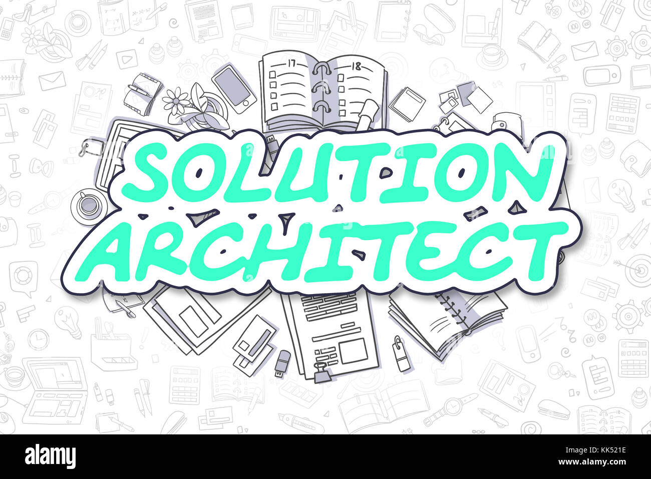 Solution architect doodle green word stock photo for Solution architect