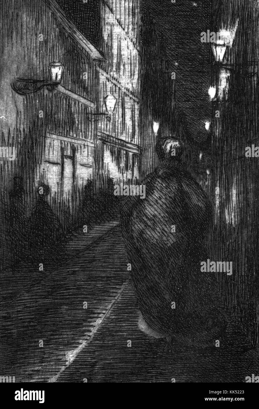 An engraving from an illustration called Paris la Nuit which translates to Paris by Night, a figure cloaked in a - Stock Image