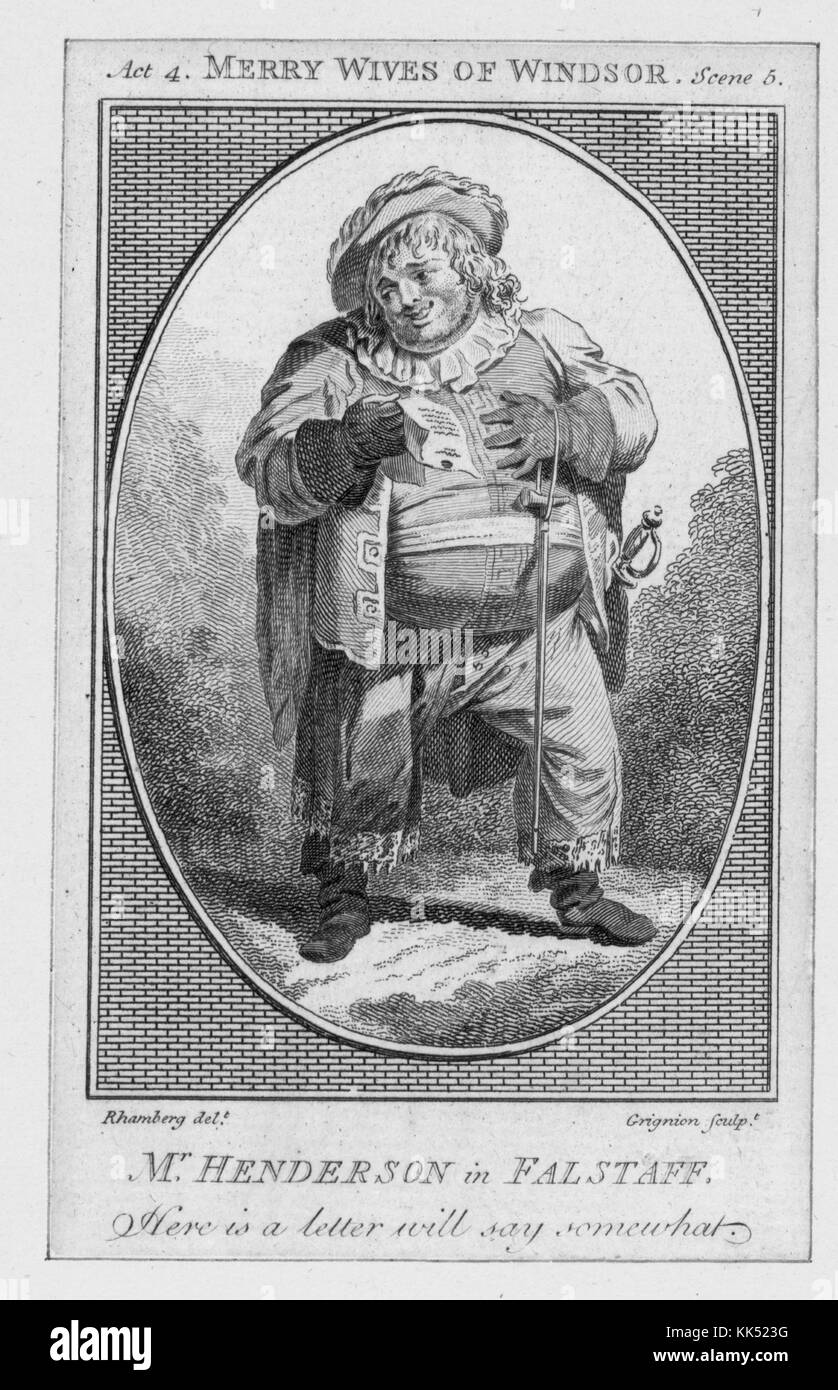 An engraving from an image of John Henderson in costume as Falstaff from The Merry Wives of Windsor by William Shakespeare, - Stock Image