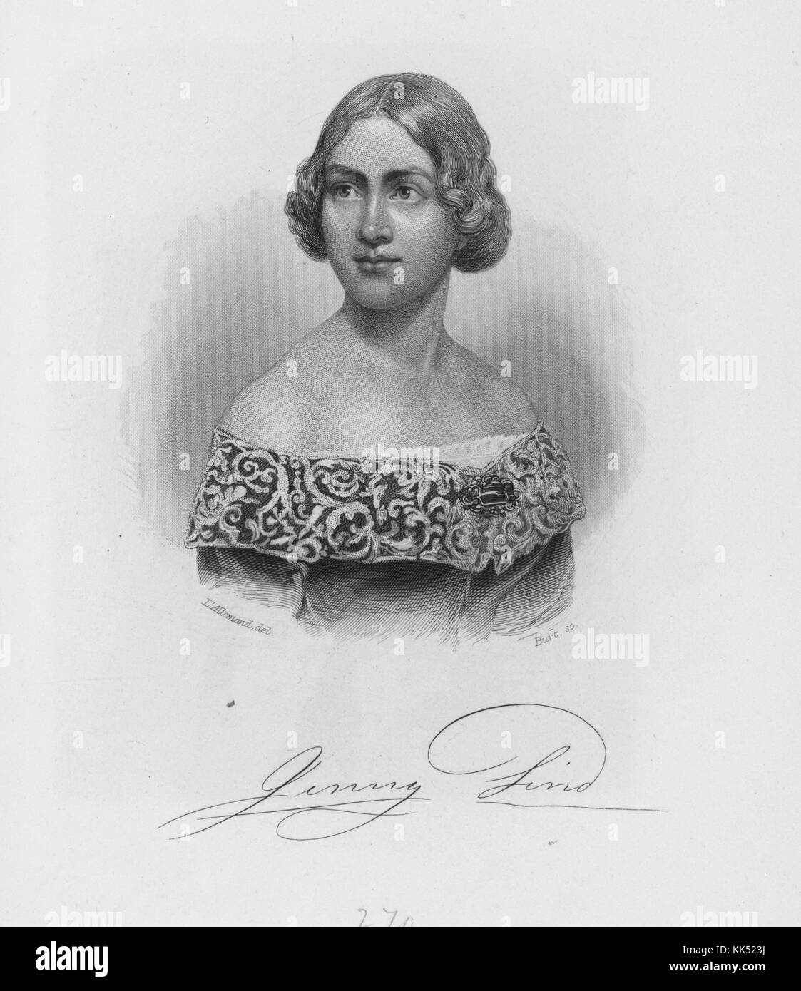 An engraving from a portrait of Jenny Lind, she was a Swedish opera singer who was nicknamed 'The Swedish Nightingale', - Stock Image