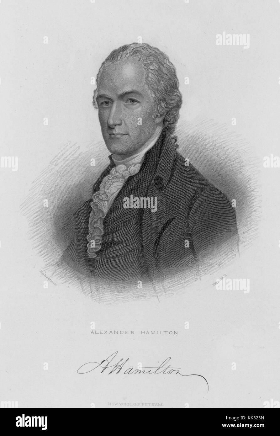 Engraved portrait of Alexander Hamilton, a Founding Father of the United States, chief staff aide to General George - Stock Image