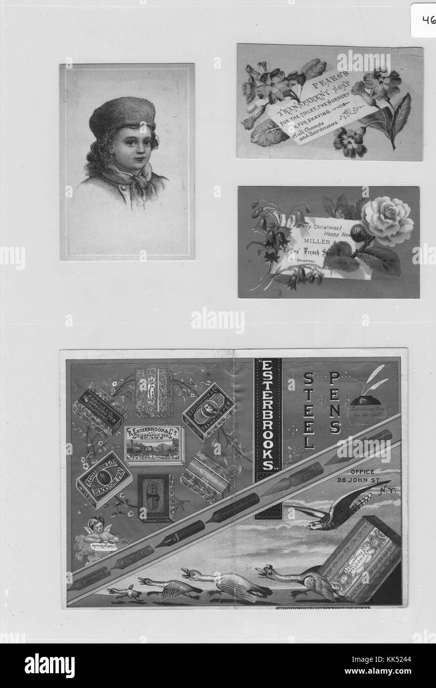 Collection of four advertisement cards, clockwise from left, card with a portrait of a small child wearing a hat - Stock Image