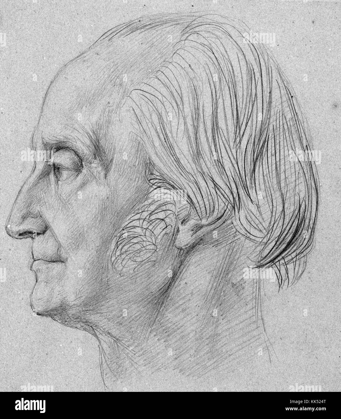 Pencil drawn portrait of August Wilhelm Schlegel, German poet, translator, critic, and a foremost leader of German Stock Photo