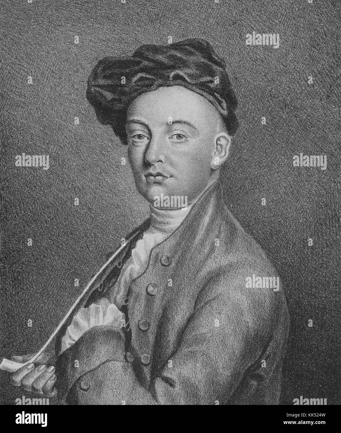 Engraved self portrait of William Hogarth, English painter, printmaker, pictorial satirist, social critic, and editorial - Stock Image