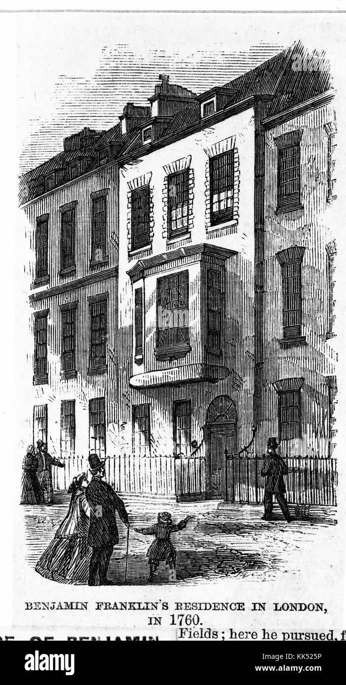 Wood engraving depicting a row house, people walking on the street outside of it, captioned 'Benjamin Franklin's - Stock Image