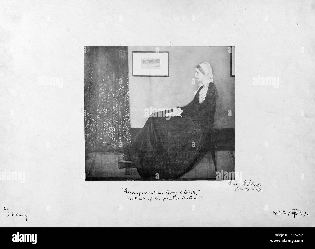 Photograph of Anna M Whistler, posed as a study for the eventual painting 'Whistler's Mother', photograph - Stock Image