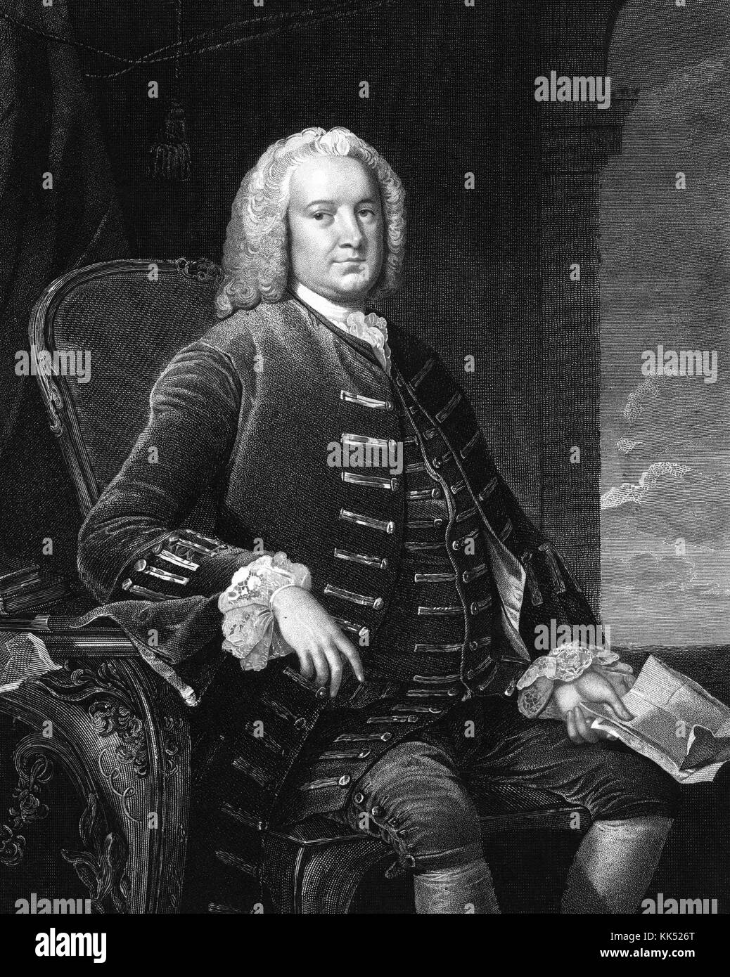 An engraving from a portrait of George Grenville, he served as the 7th Prime Minister of Great Britain, he was born - Stock Image