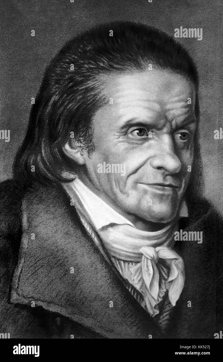 An engraving from a portrait of Johann Heinrich Pestalozzi, he was a Swiss educational theorist, his ideas contributed - Stock Image