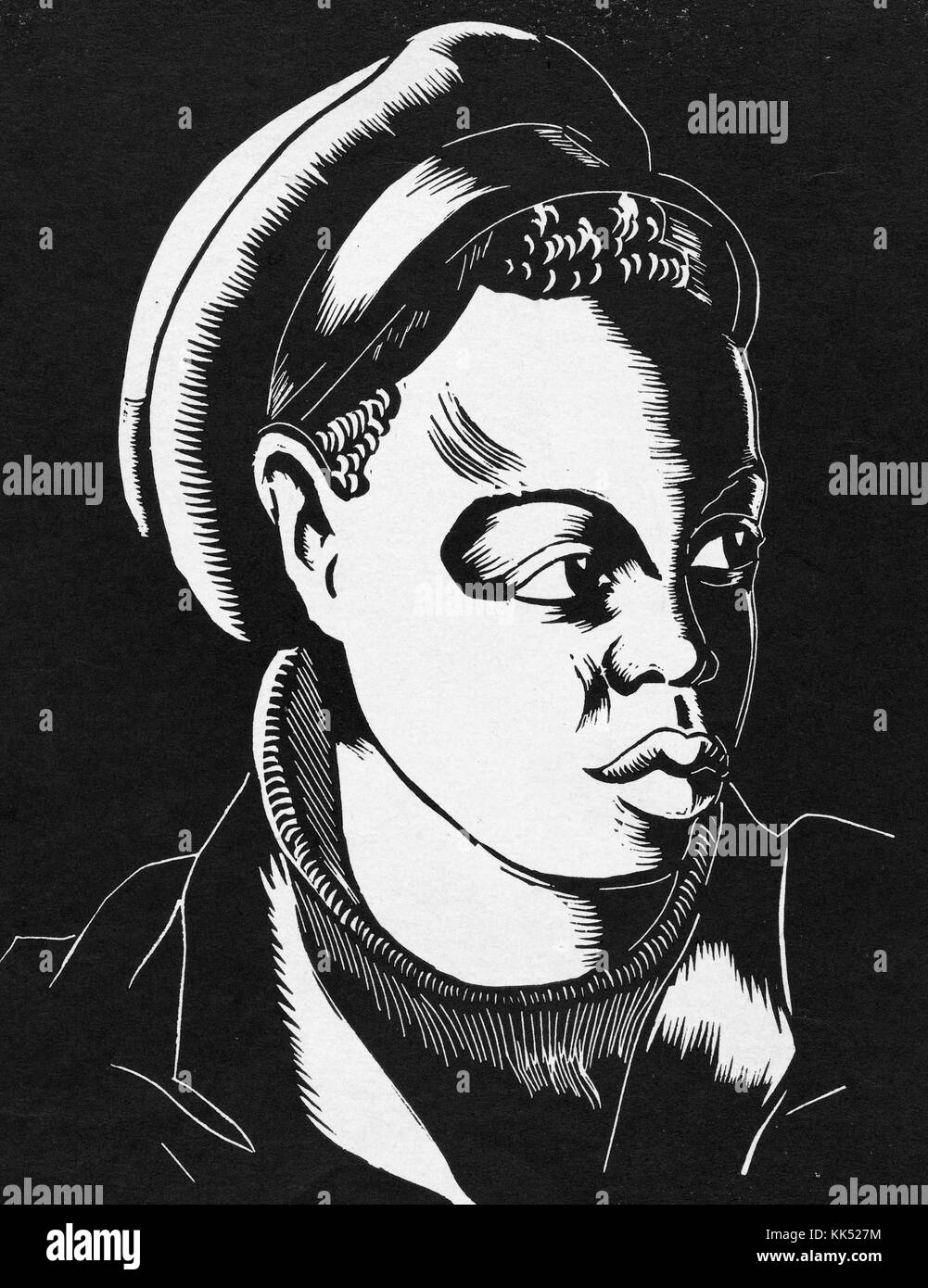 A woodcut portrait featuring an unnamed young Black man, he is wearing a turtle neck sweater, jacket and cap, 1939. - Stock Image