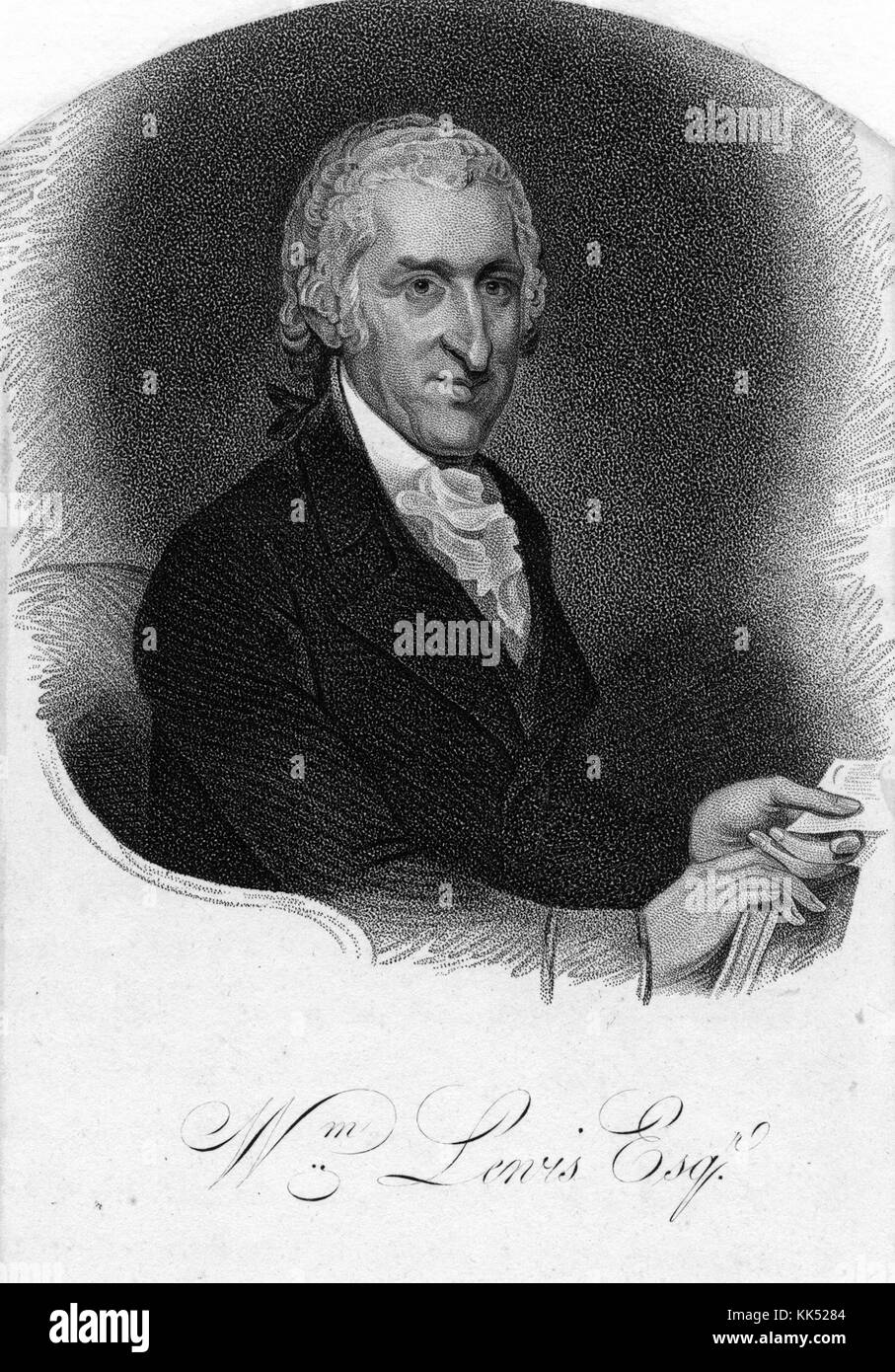 An engraving from a portrait of William Lewis, he was a lawyer and eventually became a judge, during the American - Stock Image