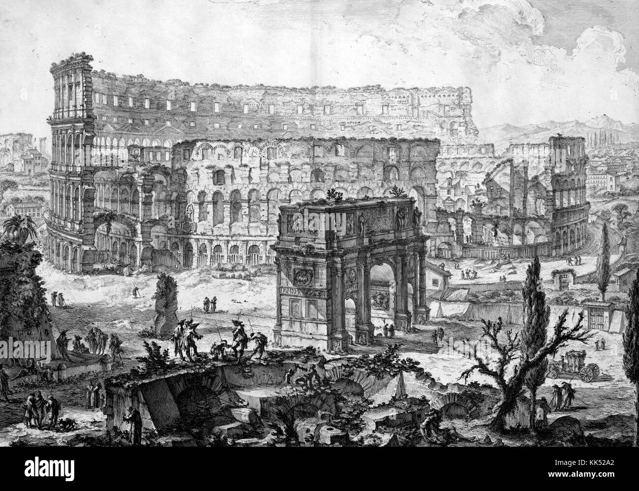 An etching depicting the Colosseum, the image depicts people working and congregating around the large amphitheater, - Stock Image