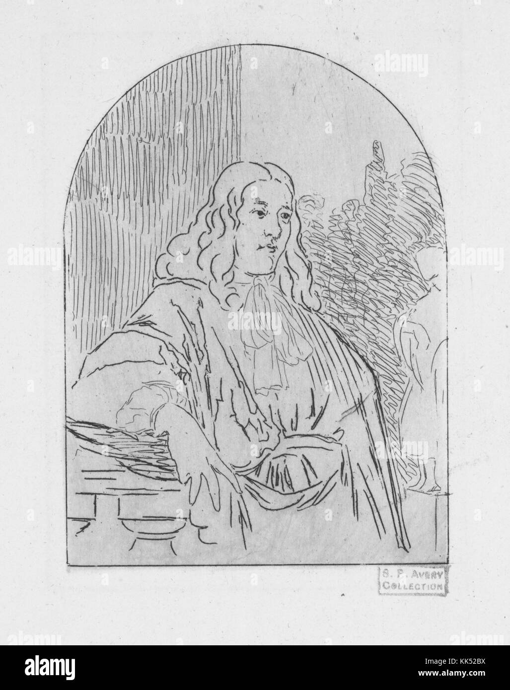 An etching titled Portrait d'un magistrat which translates from French to 'Portrait of a Magistrate', - Stock Image