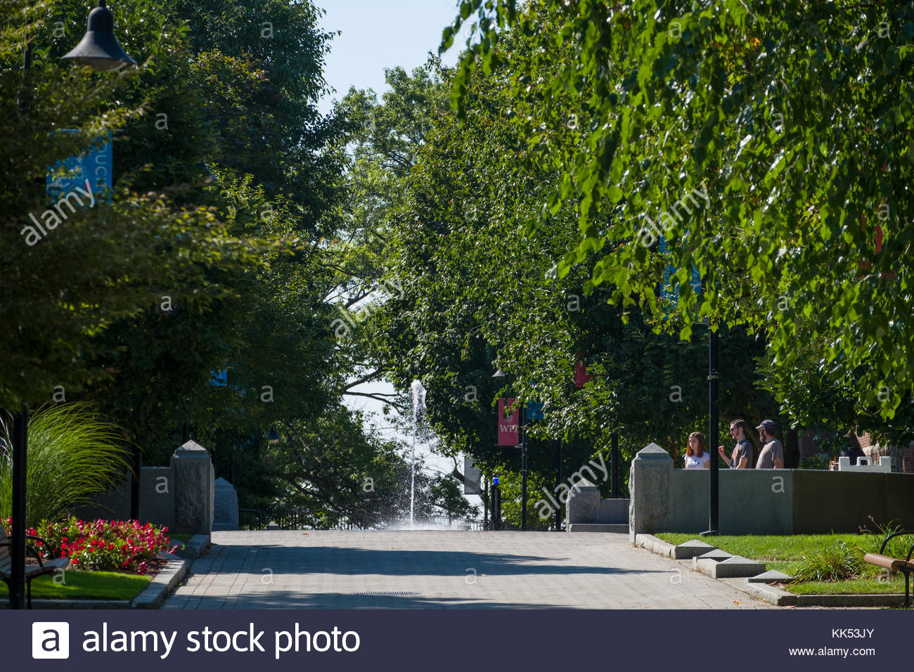 Fountain in Freeman & Reunion Plazas, Worcester Polytechnic Institute, Worcester, Worcester County, Massachusetts, - Stock Image
