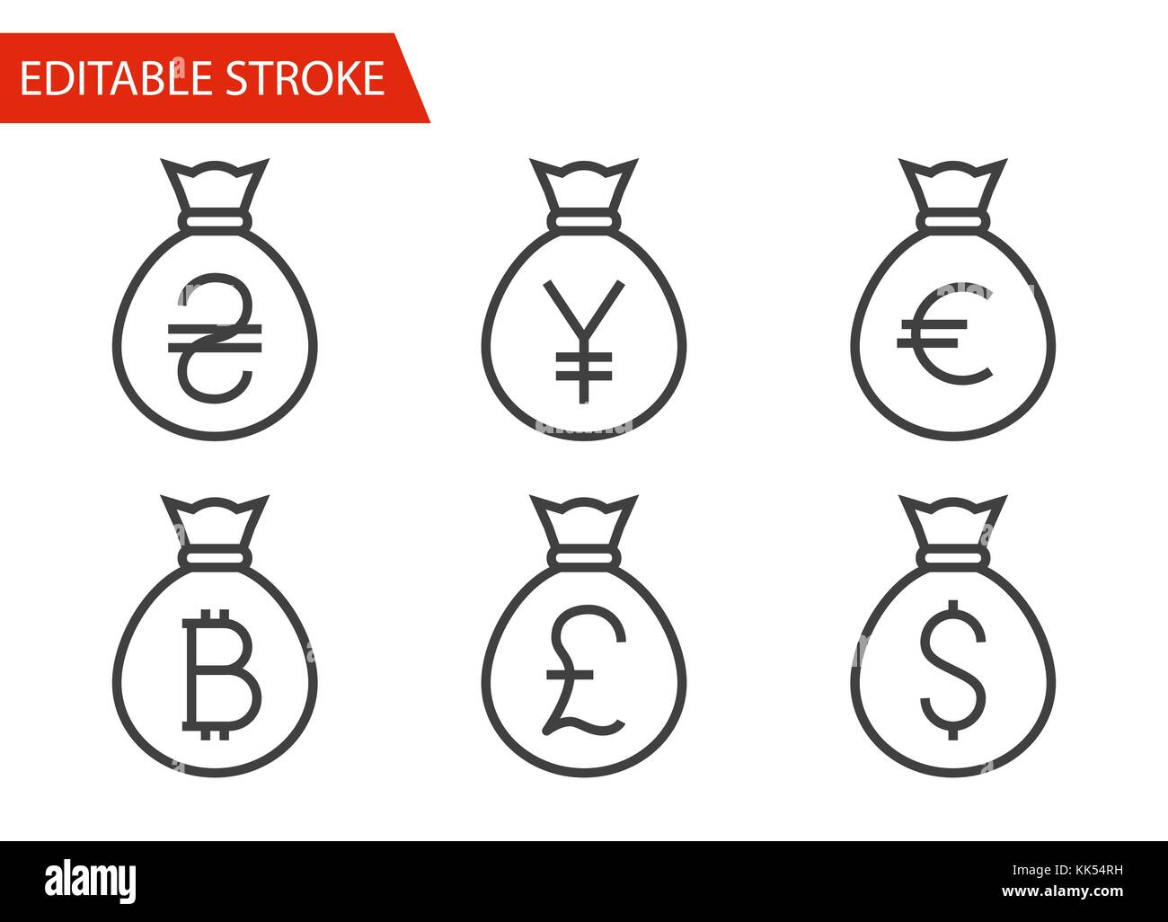 Bags with Money Icons Set. Thin Line Vector Illustration - Adjust stroke weight - Expand to any Size - Easy Change - Stock Vector