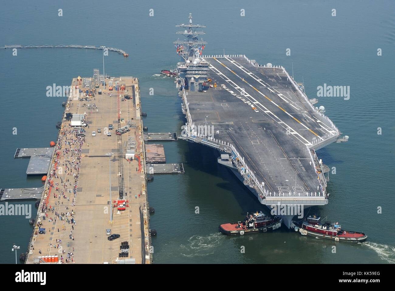 The Nimitz-class aircraft carrier USS Dwight D Eisenhower CVN 69 departs Naval Station Norfolk for a regularly scheduled - Stock Image