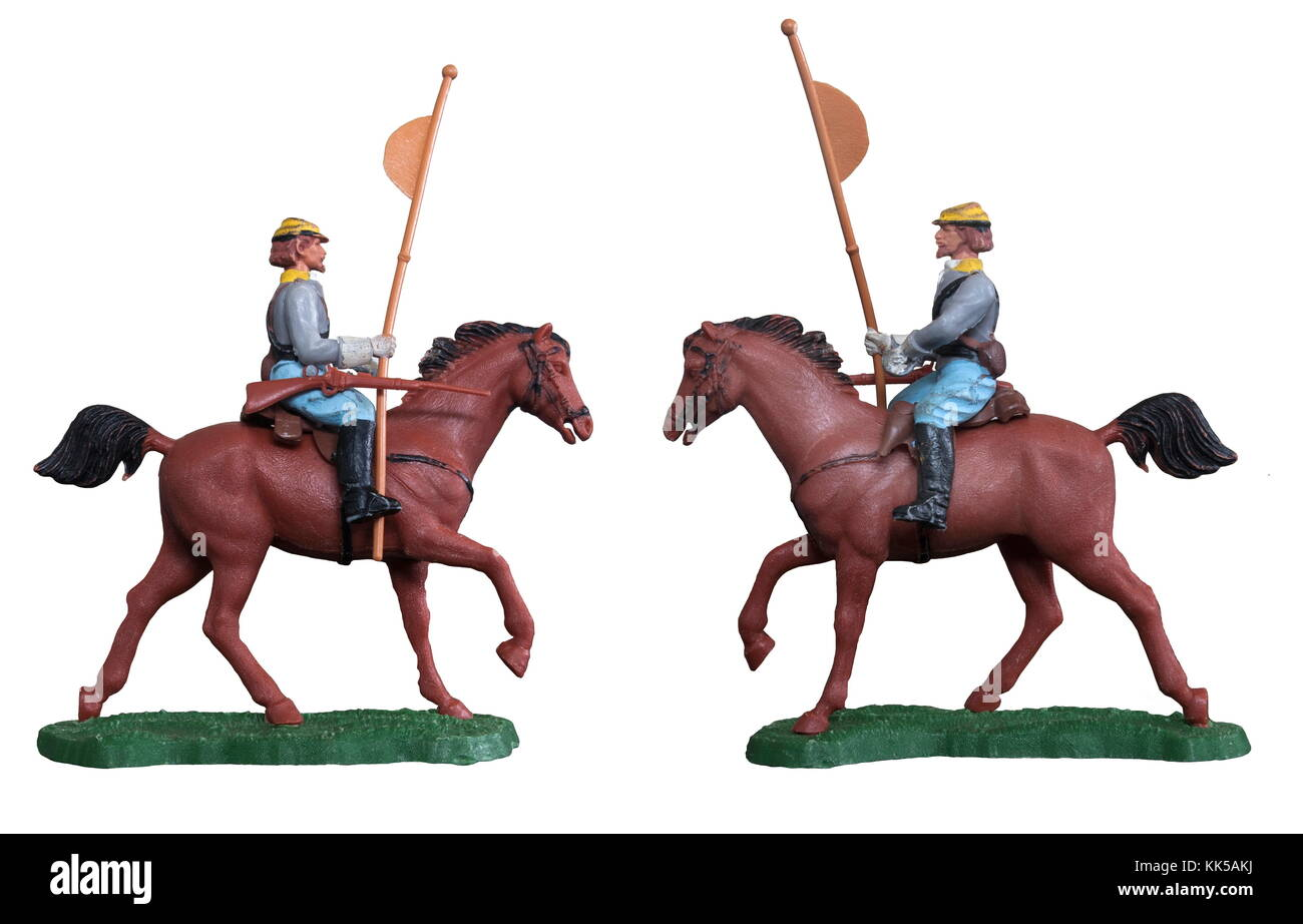 Cavalry toy soldier / Isolated white - Stock Image