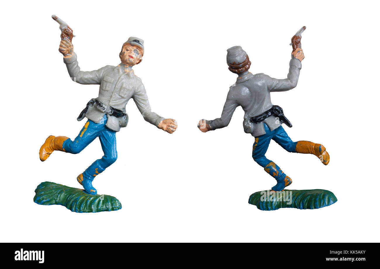 Vintage toy soldier / Isolated white - Stock Image