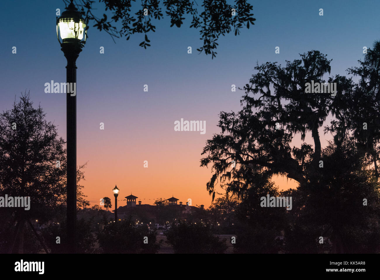 Dusk settles over the TPC Sawgrass Clubhouse in Ponte Vedra Beach, Florida. (USA) - Stock Image