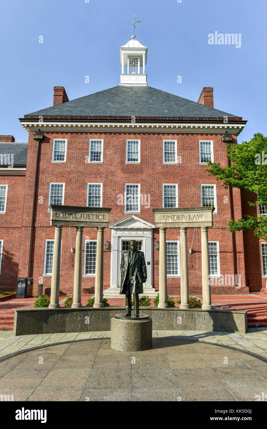 Maryland State Capital building in Annapolis, Maryland on summer afternoon. It is the oldest state capitol in continuous - Stock Image