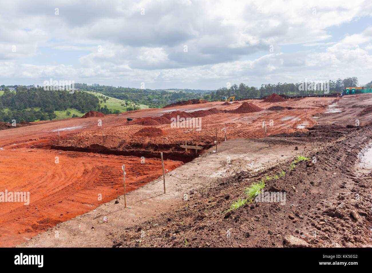 Industrial earthworks building foundations layout construction site landscape Stock Photo