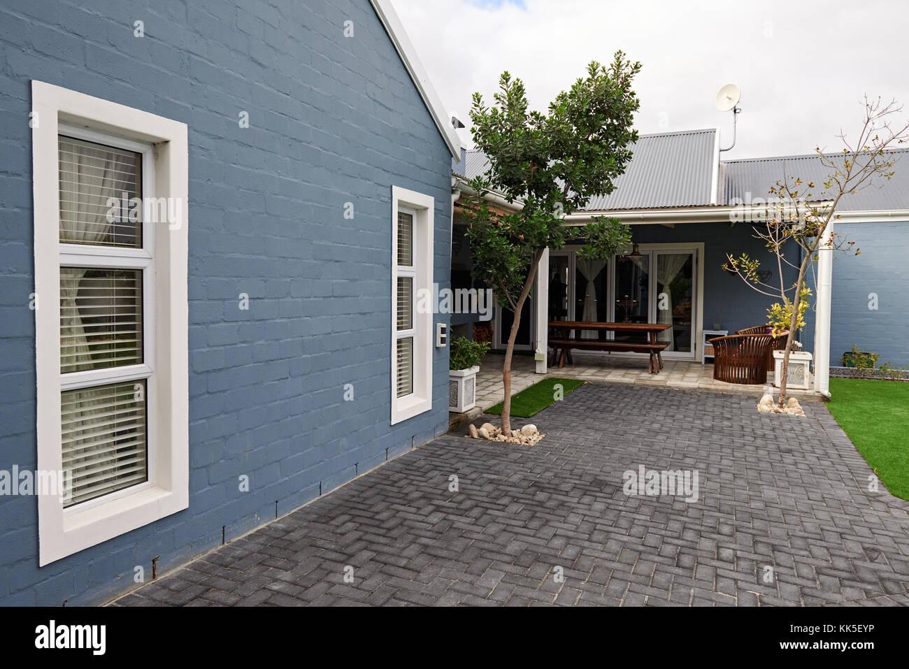Exterior of the back of a contemporary suburban home Stock Photo