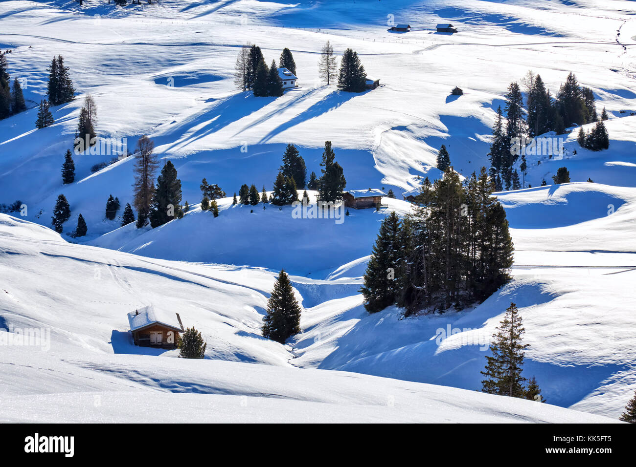 Winter sunrise over Alpe di Siusi Dolomites, Italy - Stock Image