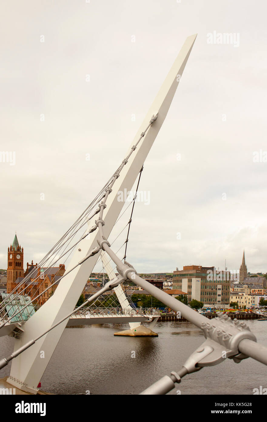 A close up ooof the steel structure of the iconic Peace Bridge over the river foyle in londonderry city in Northern - Stock Image