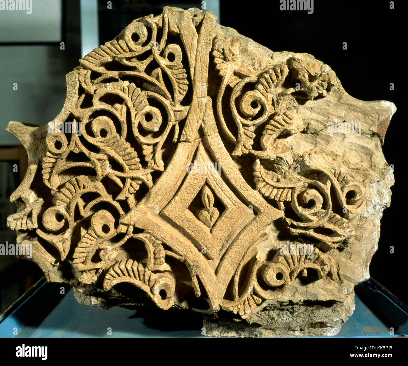 Islamic art. Fragment of an arch of an Andalusian palace. Castle Formós built in Balaguer (1040-1045). Geometrical - Stock Image