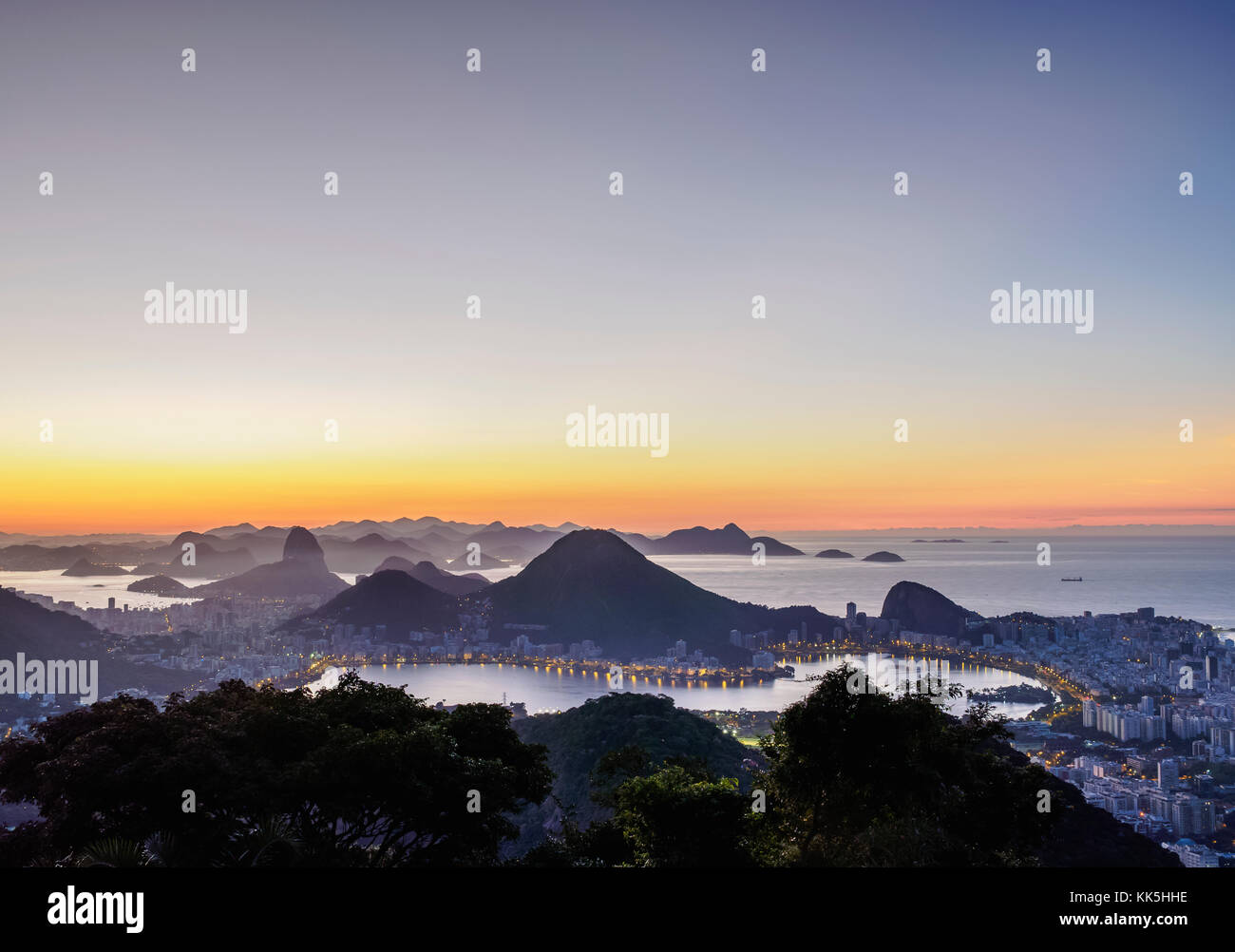 Cityscape from Vista Chinesa at dawn, Rio de Janeiro, Brazil Stock Photo