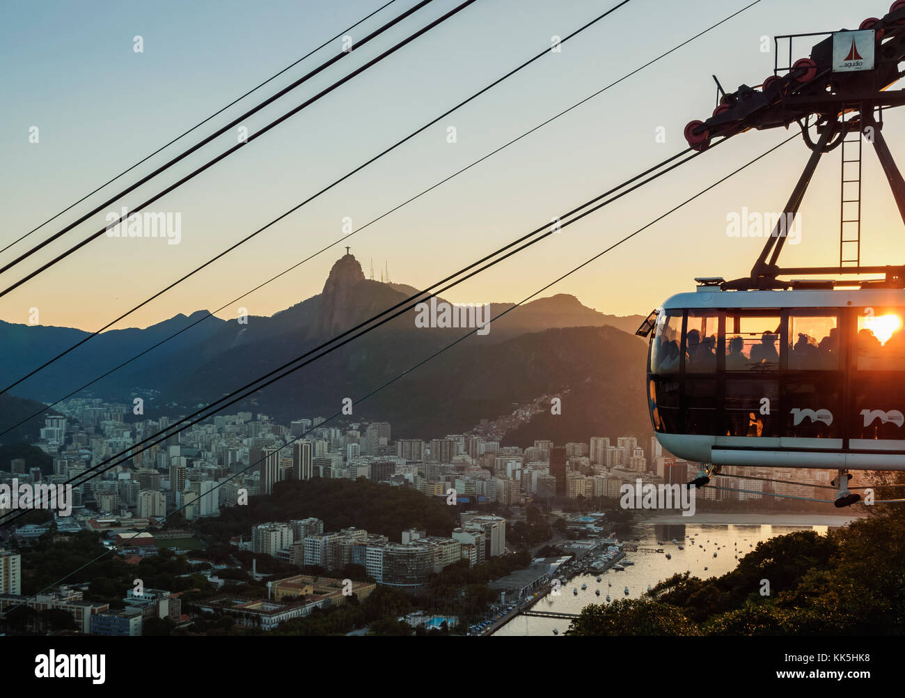 Cable Car to Morro da Urca and Sugarloaf Mountain at sunset, Rio de Janeiro, Brazil Stock Photo