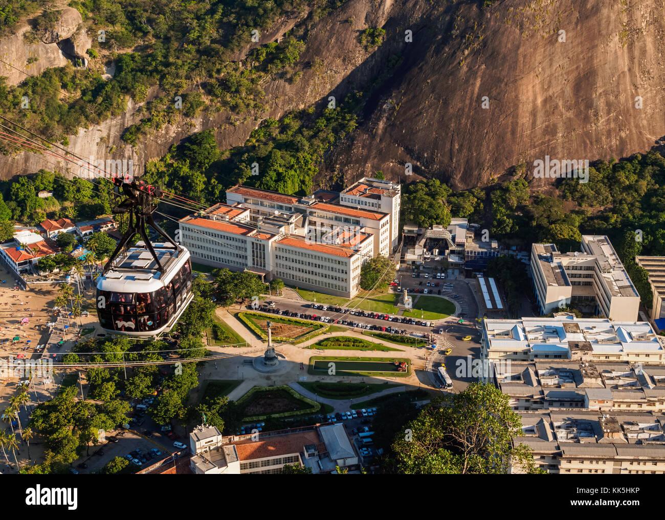 Cable Car to Morro da Urca and Sugarloaf Mountain, Rio de Janeiro, Brazil Stock Photo