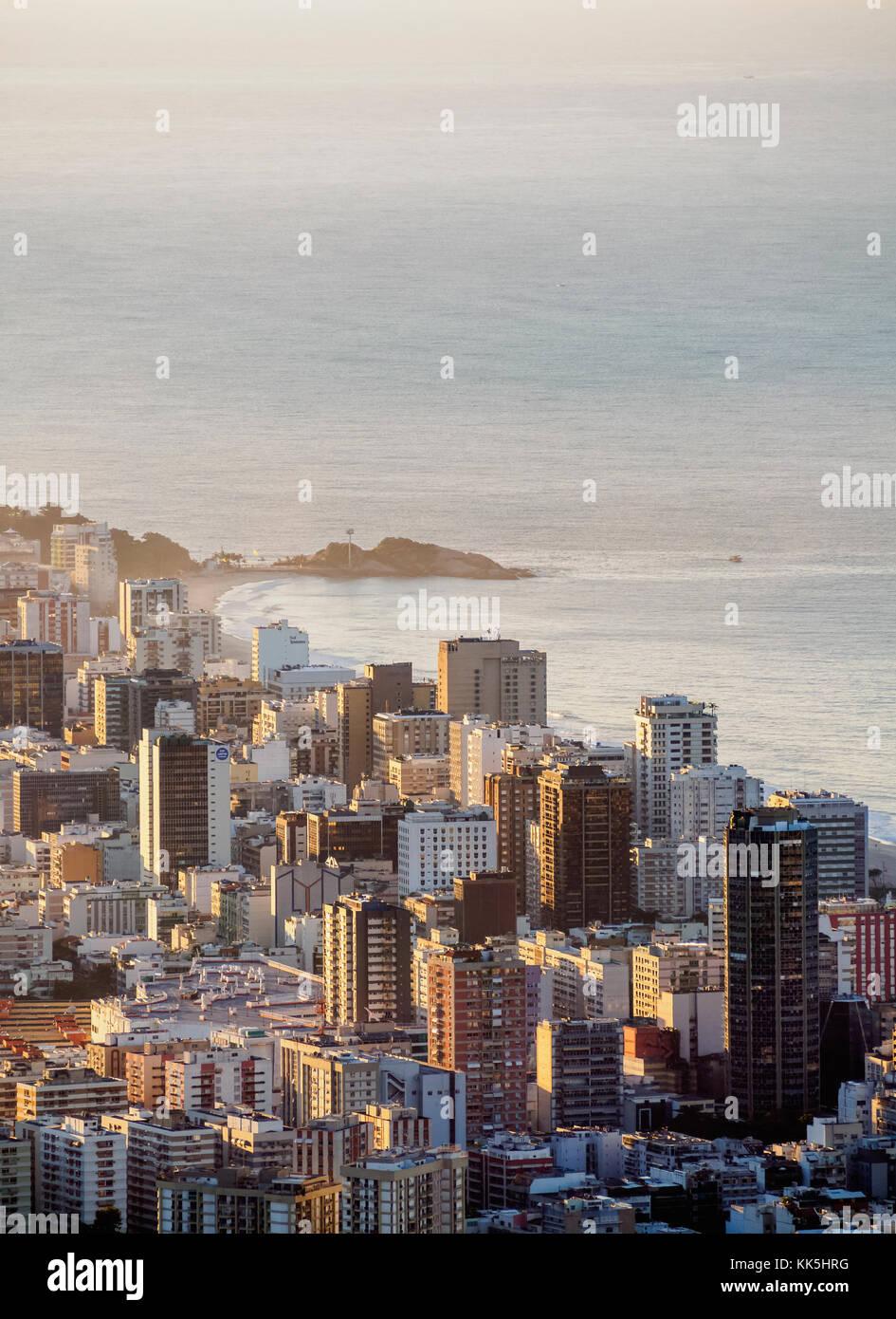 Ipanema Neighbourhood at sunrise, elevated view, Rio de Janeiro, Brazil Stock Photo