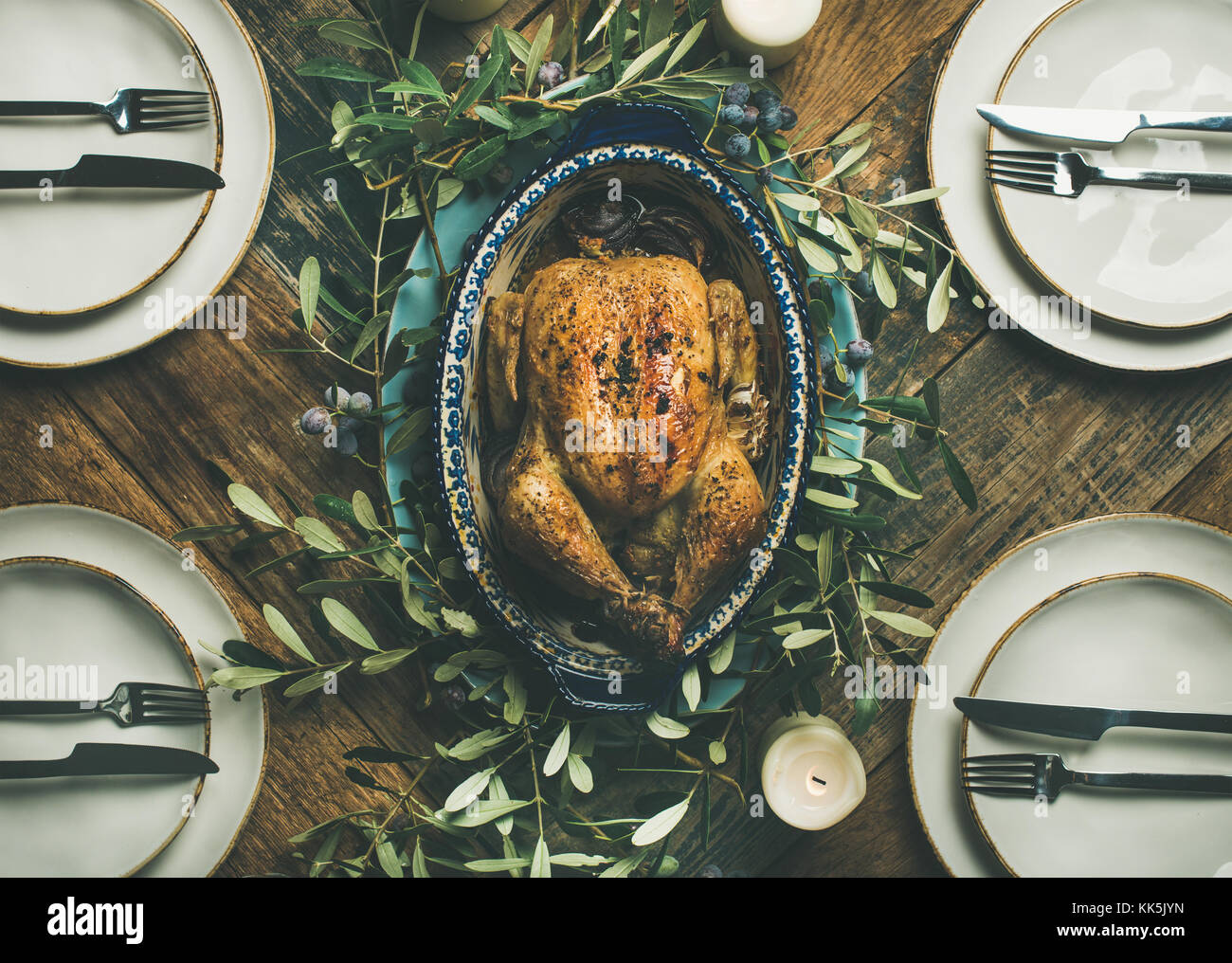 Flat-lay of whole roasted chicken for Christmas celebration, top view - Stock Image