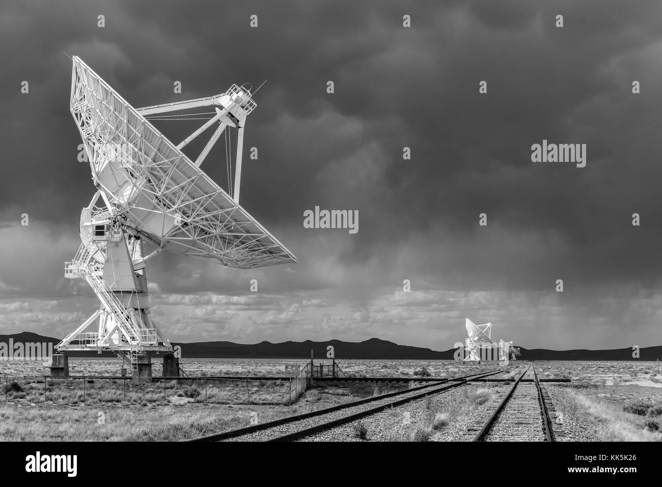 The Karl G. Jansky Very Large Array (VLA) is a radio astronomy observatory located on the Plains of San Agustin - Stock Image