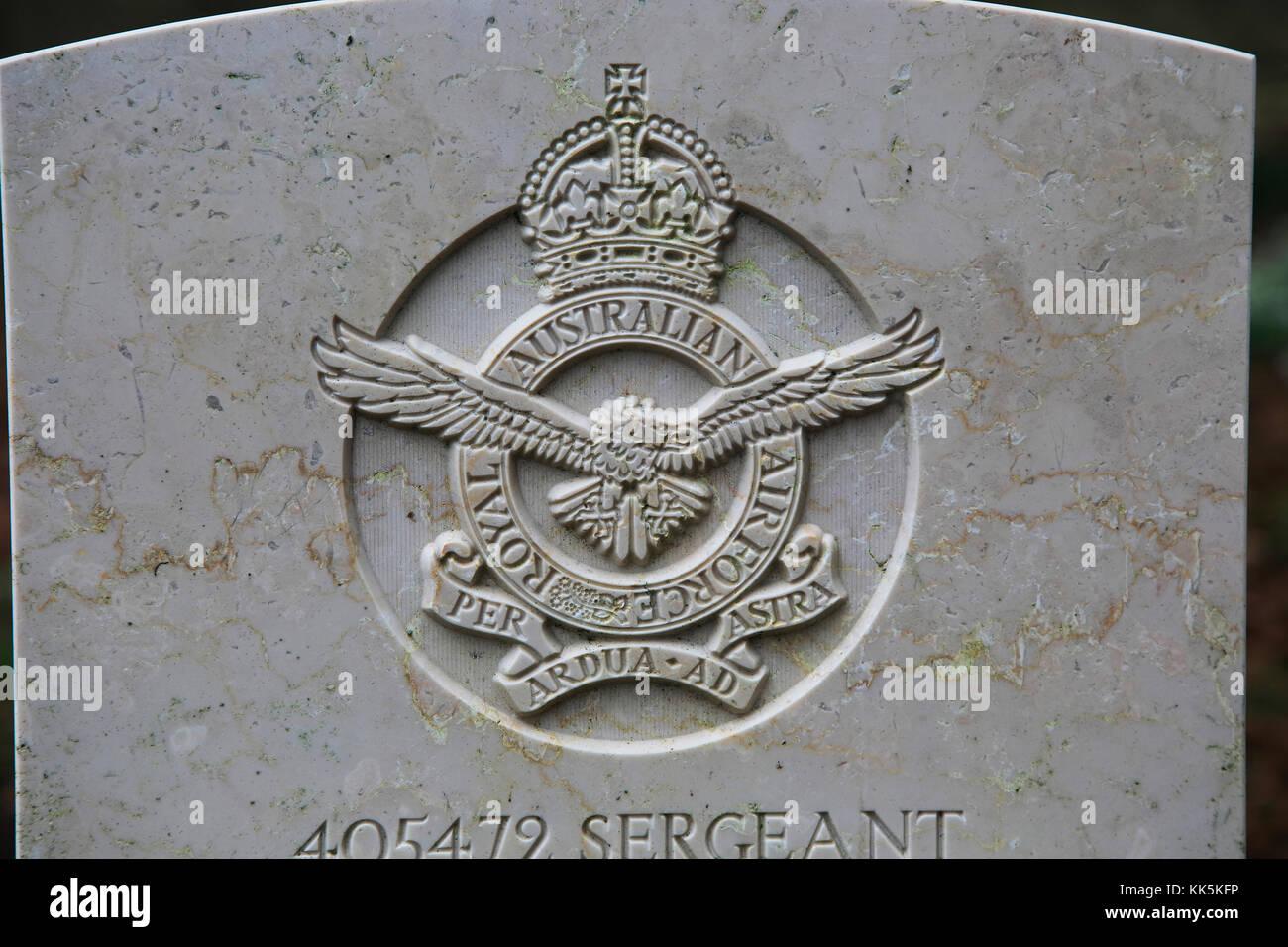 Close up of headstone of serviceman of Australian Royal Airforce, Yatesbury, Wiltshire, England, UK - Stock Image
