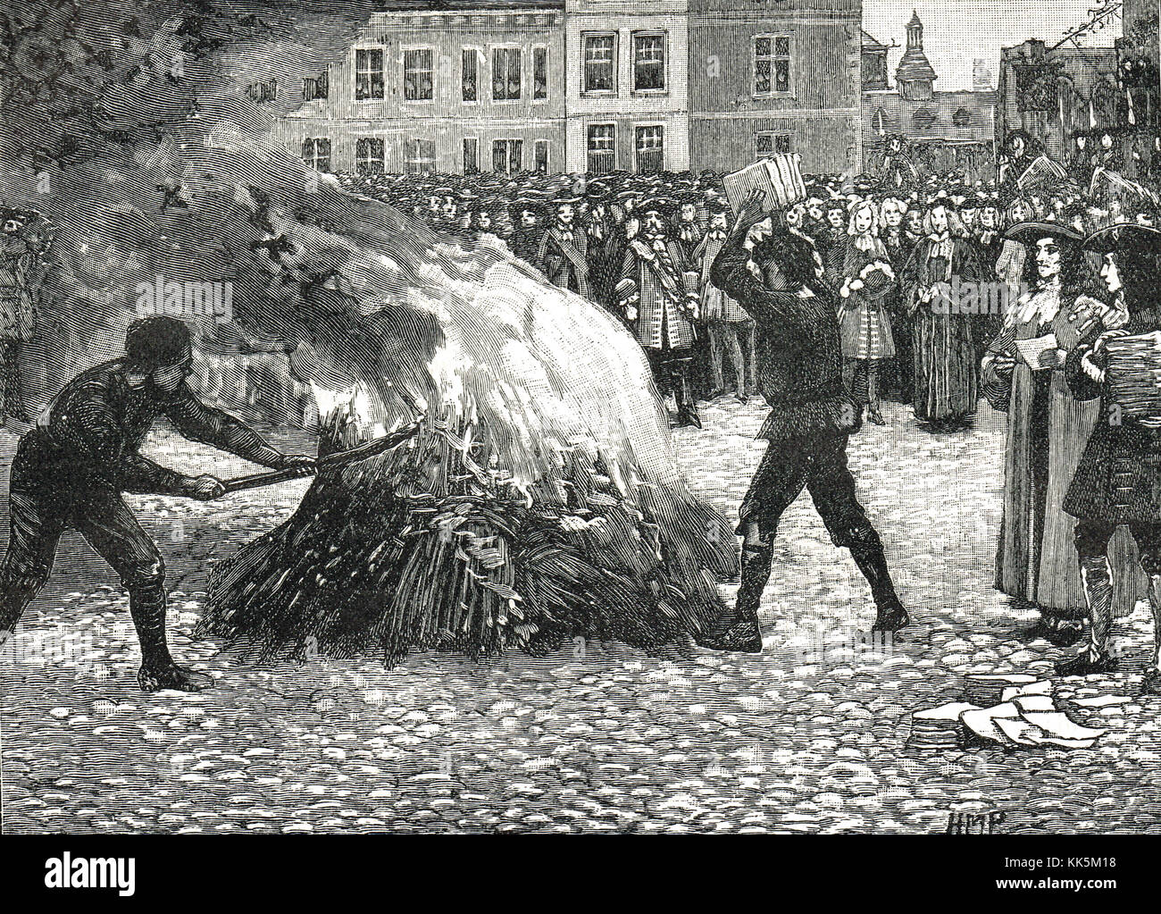Burning of 'King William and Queen Mary Conquerors' pamphlets by the Common Hangman. A symbolic execution - Stock Image