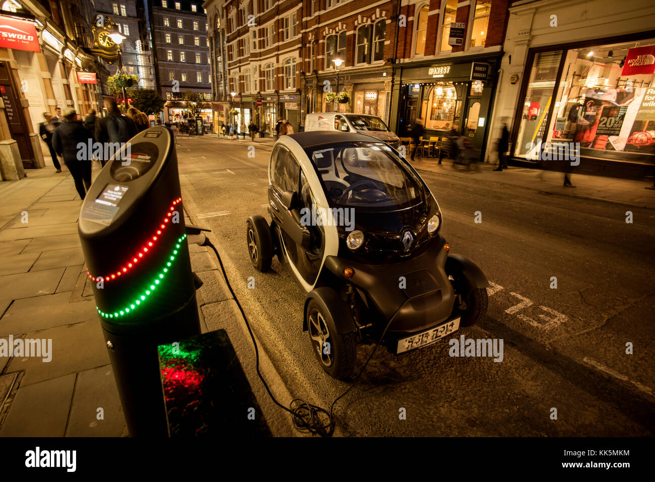 London Covent Garden area, England, UK. Electric car being charged up. Nov 2017 Stock Photo