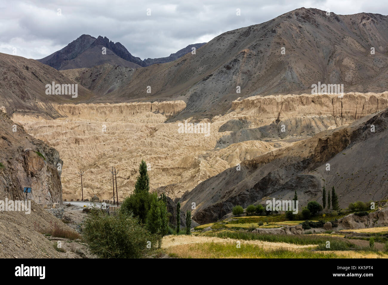 Geological features as seen from LAMAYURU MONASTERY founded by NAROPA - LADAKH, INDIA - Stock Image
