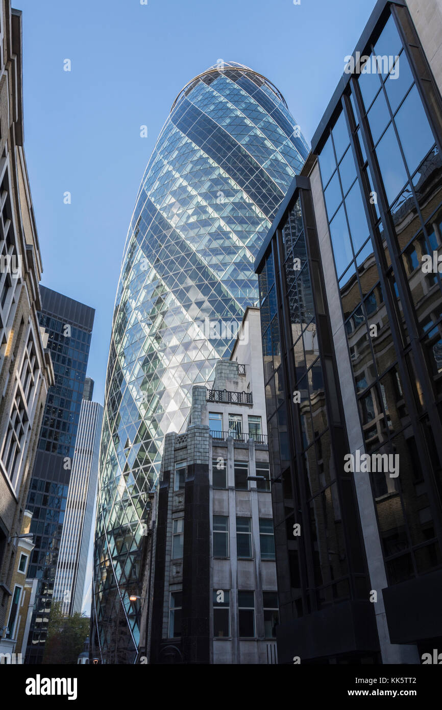 The Gherkin, 30 St Mary Axe, London, UK - Stock Image