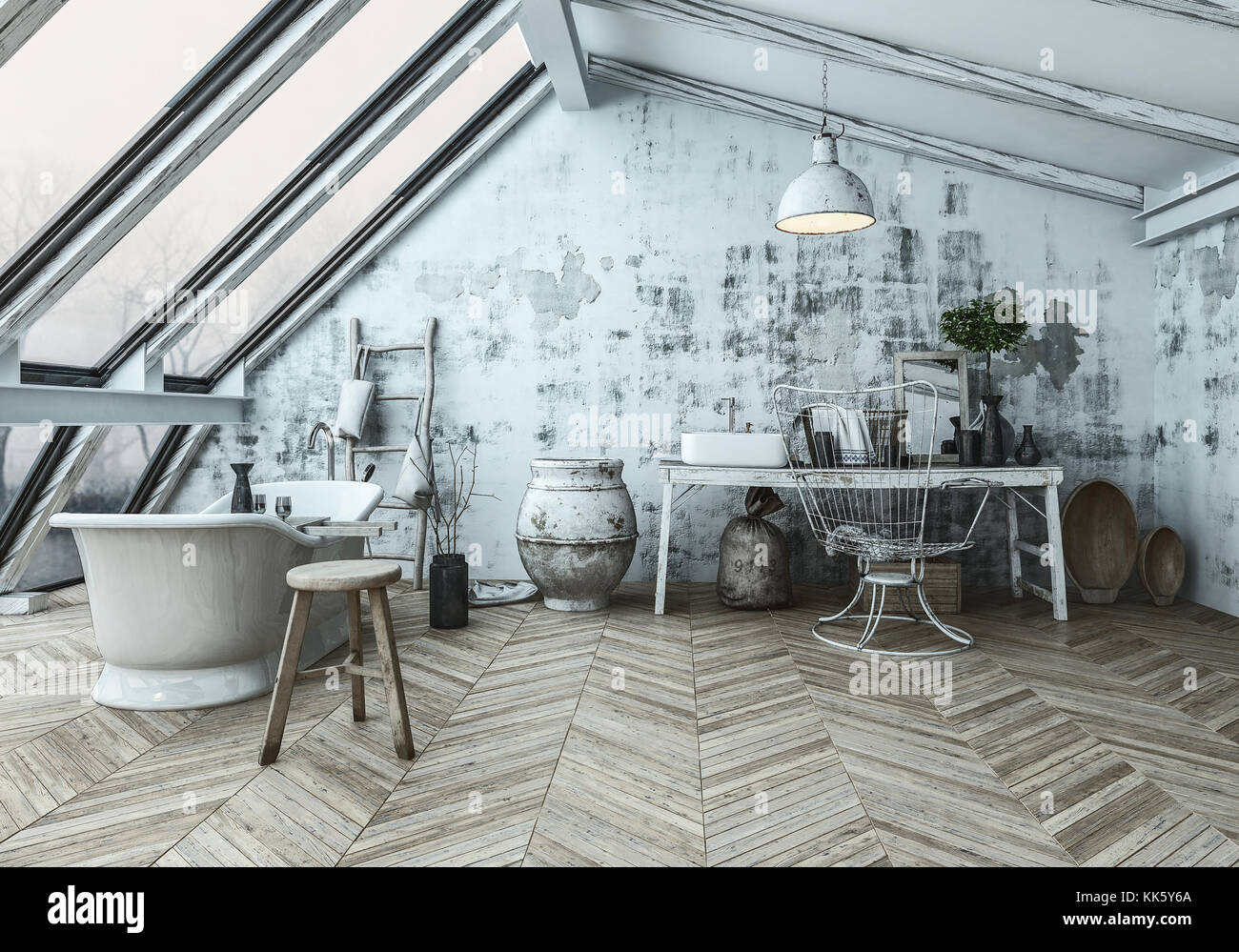 Modern Scandinavian Style Bathroom Interior With An Eclectic Collection Of Collectibles And Herringbone Wood Floor In A Converted Attic 3d Rendering