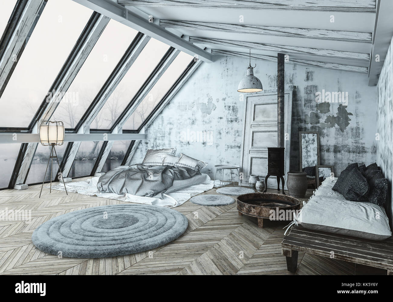 Cozy Scandinavian Style Bedroom With A Wood Burner Stove For Heating Stock Photo Alamy