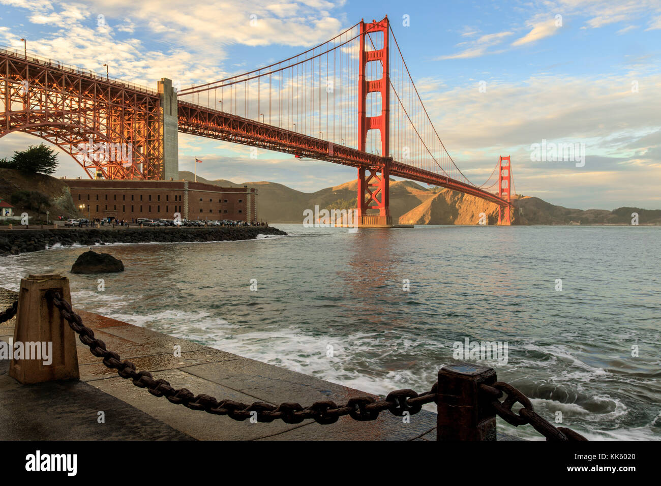Golden Gate Bridge and chain link Fence. - Stock Image